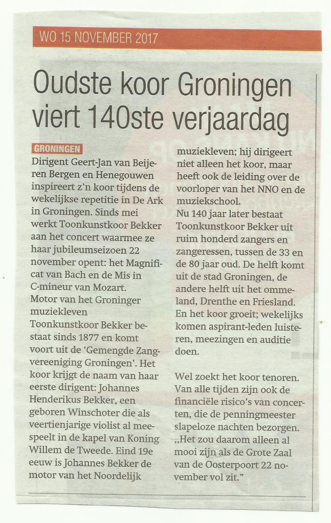 Gezinsbode bericht over concert Bekker
