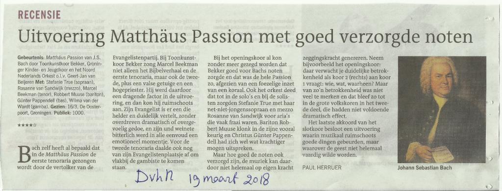 Recensie Matthäus Passion
